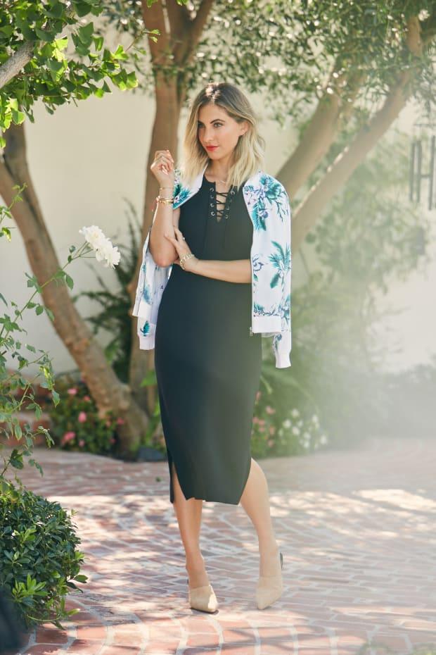 Black Dress and Palm Jacket 1