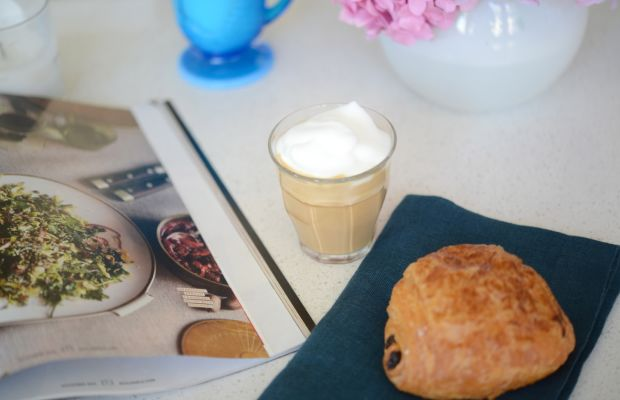Chocolate croissants, frothy lattes, and magazines fuel the brainstorm.