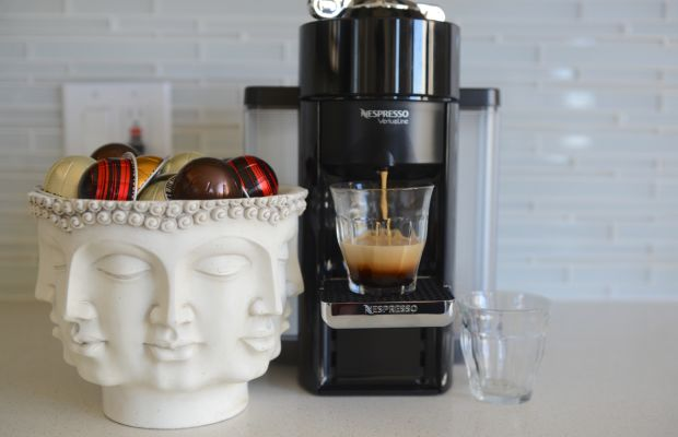 Repurposed our multi-face vase to add a little style and reduce the clutter in the coffee station. Speaking of clutter, all of the Nespresso capsules are recyclable, so we're able to cut down on our waste.