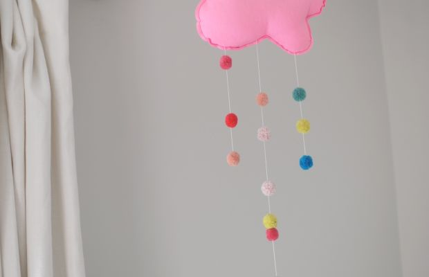 {A cute cloud mobile Sloan picked out at one of her favorite stores}