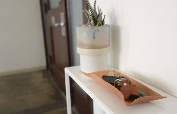 {New leather catchall in the office}