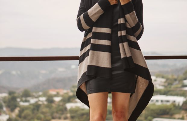 Cupcakes and Cashmere Sweater and Faux Leather Dress, Vince Sandals