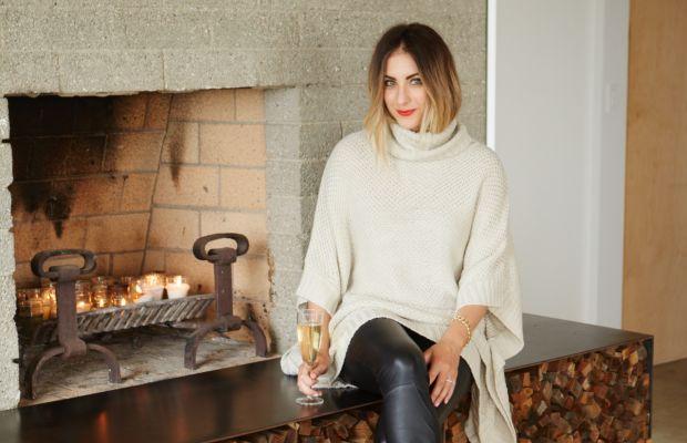 Cupcakes and Cashmere Sweater and Leather Leggings, Stuart Weitzman Heels, Estée Lauder 'Restless' Lipstick