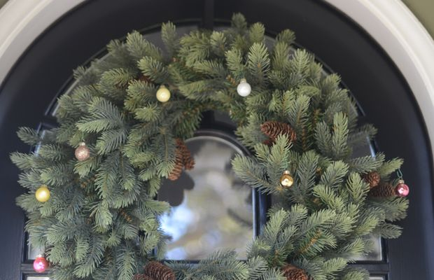 Our front door wreath with miniature ornaments