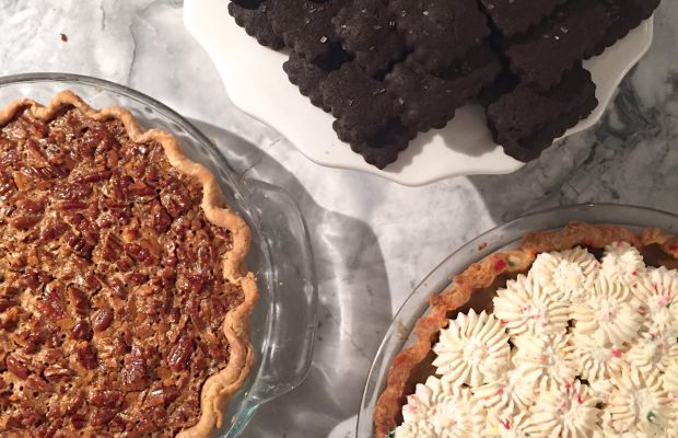 {Desserts from last week's meal: Cook's Illustrated pecan pie, my mom's funfetti pumpkin pie, Miette's chocolate sables}