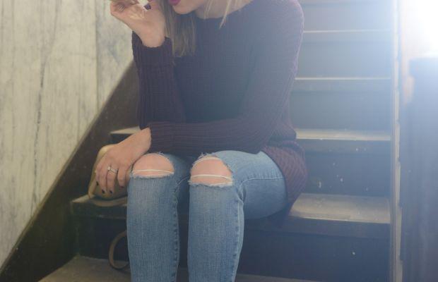 Cuyana Hat, Cupcakes and Cashmere Sweater, Joe's Jeans, Gucci Bag, A Détacher Shoes, MAC 'Rebel' Lipstick