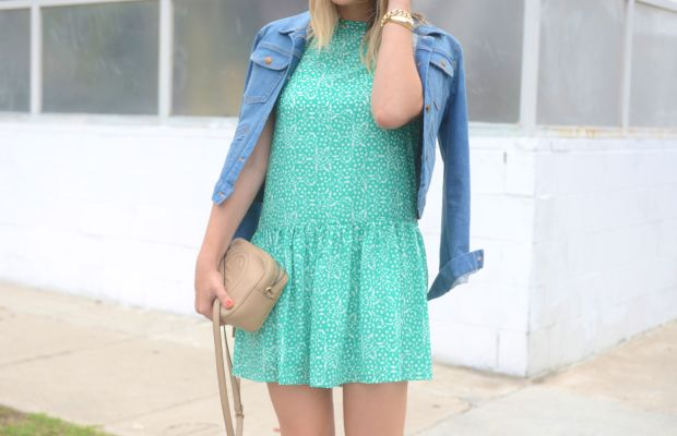 Cupcakes and Cashmere Dress (here and here), J.Crew Denim Jacket, Gucci Bag, Cupcakes and Cashmere x Club Monaco Heels