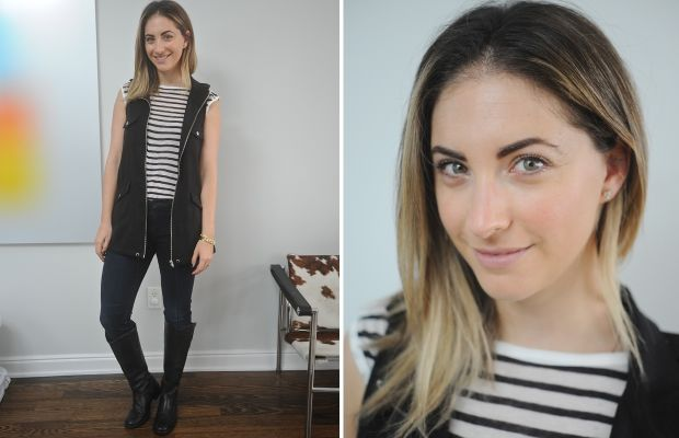 {Wednesday: T by Alexander Wang Shirt, Cupcakes and Cashmere Vest, JBrand Jeans, Steve Madden Boots}