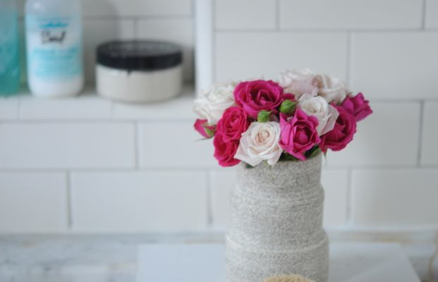 {Miniature roses by the bath}
