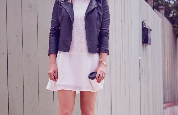 Ray-Ban Aviators, Cupcakes and Cashmere Faux Leather Moto Jacket(and here) and Dress, Chloe Boots