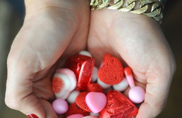 {Properly stocked up on Valentine's Day gummies}