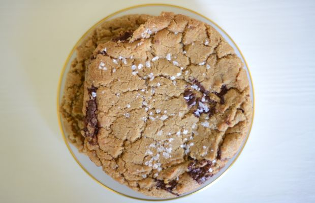 {Salted chocolate chip cookies the size of an entire plate}