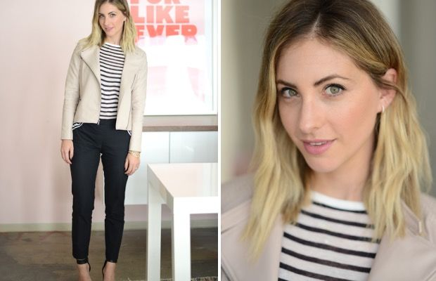 Monday: T by Alexander Wang Shirt, Cupcakes and Cashmere Jacket (similar here), Theory Pants, Topshop Sandals (similar here), Maybelline 'Pink Me Up' Lipstick
