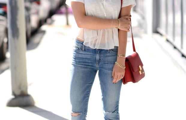 Illesteva Sunglasses (similar here), Elizabeth and James Top, Joes Jeans (similar here), Celine Purse, Manolo Blahnik Sandals