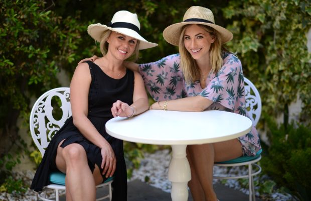 """With Brooke before the tennis match on our patio wearing a new Cupcakes and Cashmere romper (the color is """"Palm Springs""""!)"""