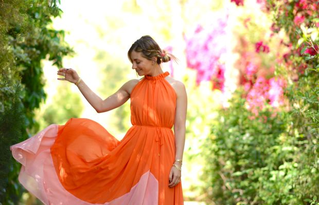 A sherbet-colored dress that was made for Palm Springs