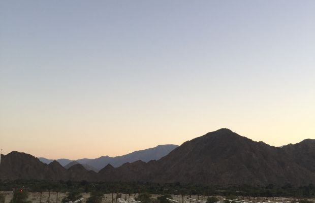 The view across the practice courts at Indian Wells