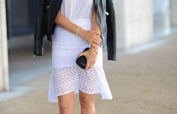 Celine Sunglasses, Topshop Top, Anine Bing Jacket, Cupcakes and Cashmere Skirt(similar here), Club Monaco Sandals, Alexandra DeClaris Clutch, XIV Karats Earrings