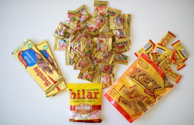 {An incredible candy haul our intern, Maya, brought back from Stockholm}