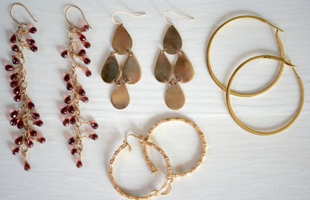 Left to right: garnet drop earrings and gold disc earrings my mom made me, inpsired by these, XIV Karat diamond hoops, vintage bamboo hoops from my grandma