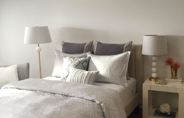 {A sneak peek of my new bedding and lighting lines (available soon!) from our shoot last week}