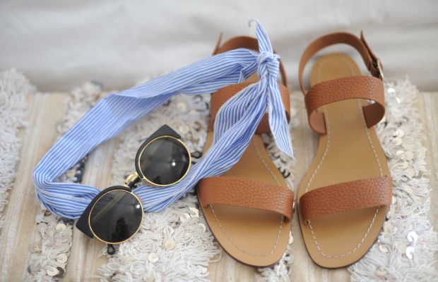 {Weekend essentials: a striped scarf, Super sunglasses, and the most comfortable neutral sandals}