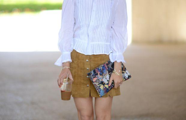 {Ray-Ban Aviators, Isabel Marant Etoile Shirt and Skirt, Zara Sandals, Valentino Clutch, Nars 'Heat Wave' Lipstick}