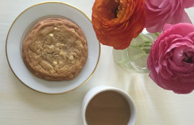 {Afternoon snack: homemade white chocolate chip cookie + coffee}