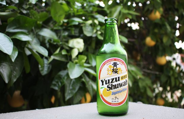 {Citrus-spiked yuzu beer from a Japanese market downtown}