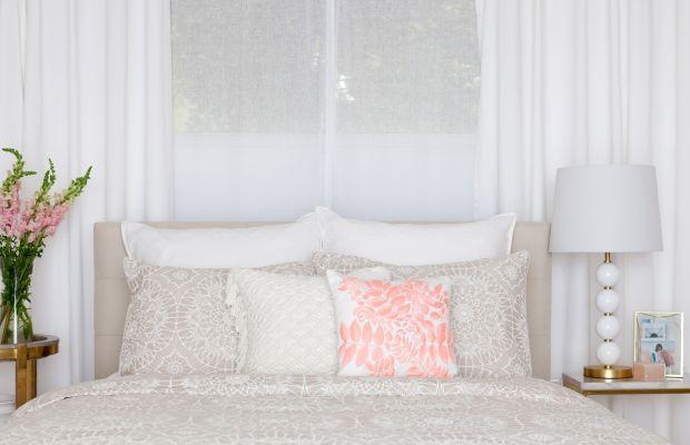 Lace Medallion: duvet, crochet pillow, coral embroidered sham, beige lace-print sham, white lace-print Euro sham