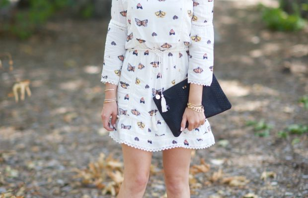Illesteva Sunglasses (similar here), Maria Stanley Dress, Claire V. Clutch c/o, Carrie Forbes sandals