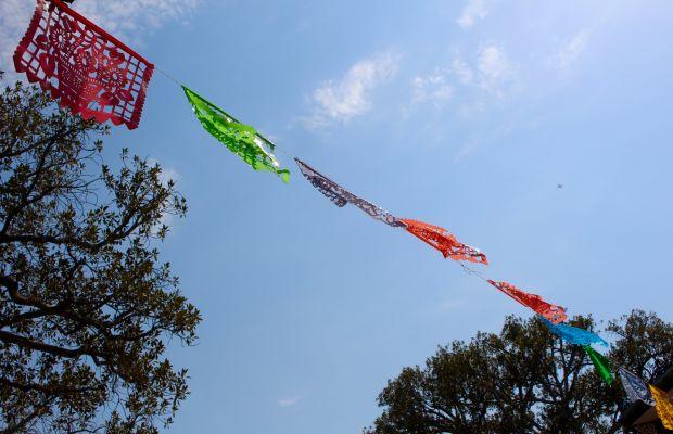 {A Mexican picado banner on Olvera Street}