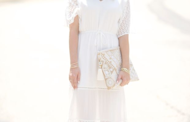 Cupcakes & Cashmere Dress, Manolo Blahnik Sandals (similar here), Star Mela Clutch (similar here), Headband