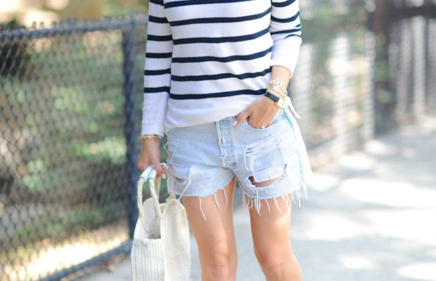 Kit Ace Hat, A.P.C. Sweater (similar here), Vintage Levi Shorts, Gucci Loafers, Clare V Tote, Larsson & Jennings Watch