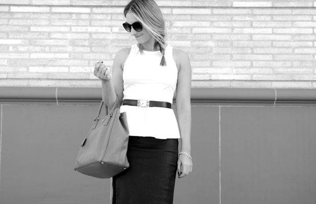 Urban Outfitters Sunglasses, Theory Top and Skirt (faux option here), Hermes Belt, Prada Purse, Zara Sandals
