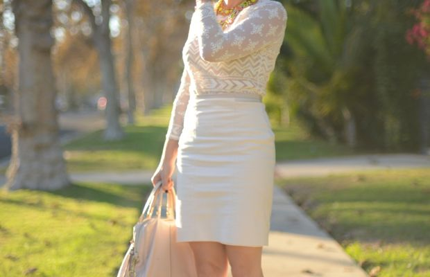 Ray-Ban Aviators, Isabel Marant x H&M Top, Vintage & Doloris Petunia Necklaces, Club Monaco Skirt, Cupcakes and Cashmere for Coach Purse, Celine Pumps