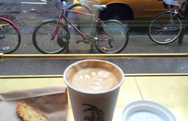 {A quick coffee break at Stumptown Coffee in New York}