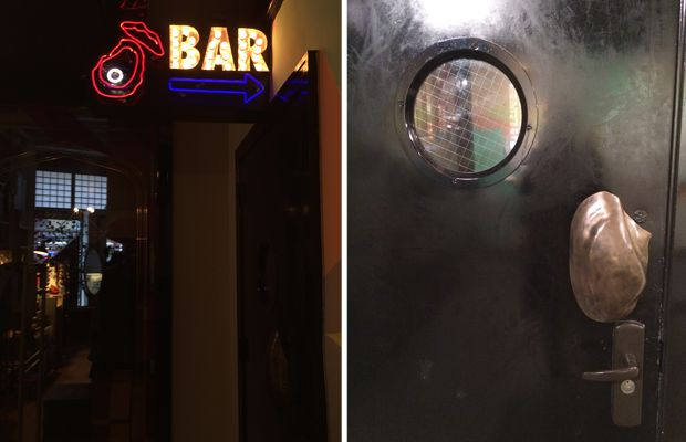 {An oyster barwith a clever, shell door handle}