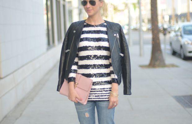 Ray-Ban Aviators, Vintage Sweater, Anine Bing Leather Jacket, Gap Jeans, Balenciaga Clutch, Manolo Blahnik Pumps