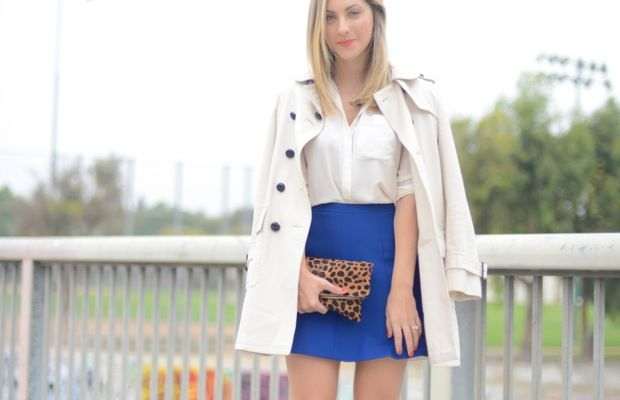 Coach Trench (similar one on sale here), Club Monaco Blouse, J.Crew Skirt, Louboutin Pumps, Clare Vivier Clutch, Revlon 'Blase Apricot' Lipstick, OPI 'A Roll in the Hague' Nail Polish