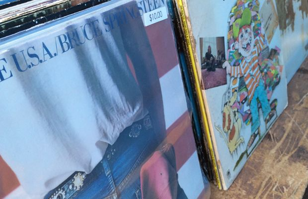 {Scouring the flea market for some of my favorite records - came home with Bruce, naturally}