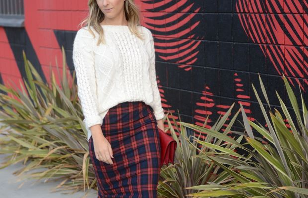 Madewell Sweater, Zara Skirt, Valentino Clutch c/o, Club Monaco Heels