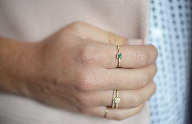{Dainty emerald birthstone ring from XIV Karats}