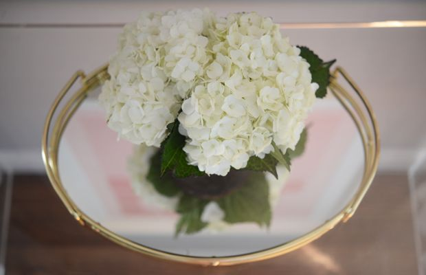 {Flowers on a mirrored tray makes them look even more robust}