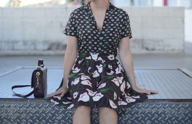 Illesteva Sunglasses, Topshop Top & Skirt, J.Crew Purse (love this quilted version), Zara Sandals