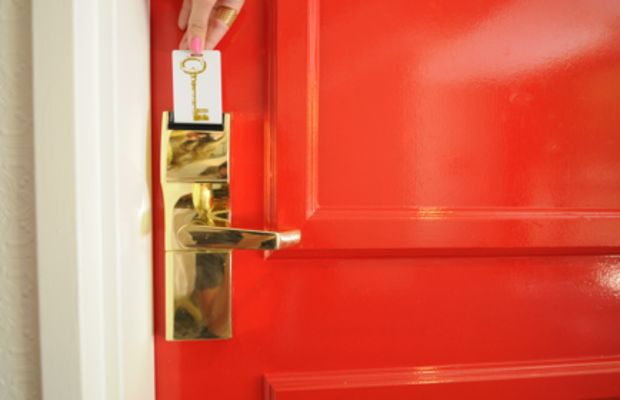 {Everything about our room was gorgeous, even the cherry red door.}