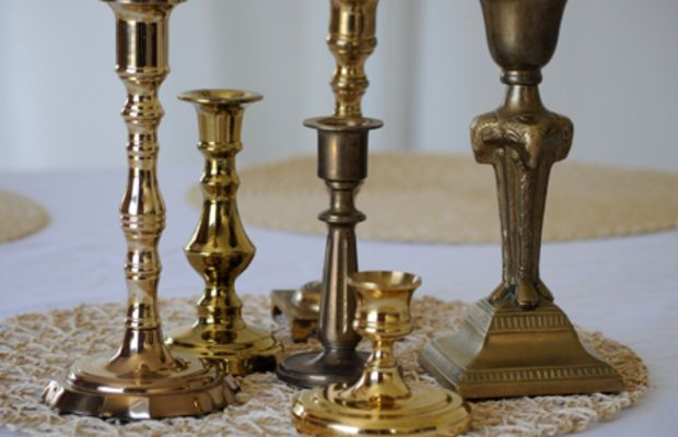 {The mismatched candlesticks, in all of their unpolished glory}