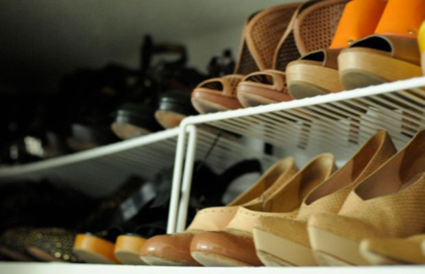 {Organizing my shoe closet, with the AC on, of course}
