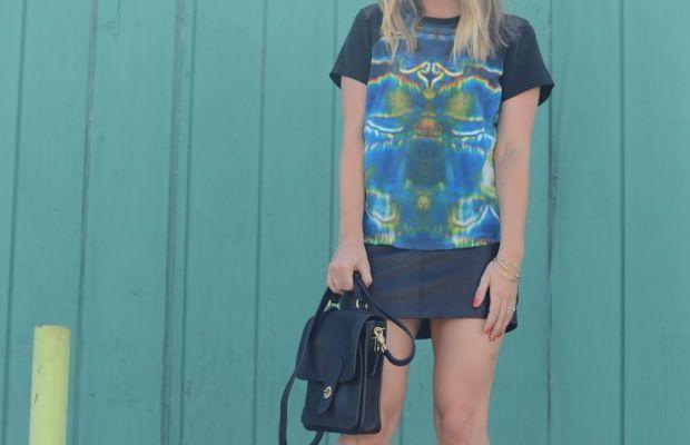 Illesteva Sunglasses,Theyskens' Theory Shirt, Zara Skirt (similarhere), Valentino Heels, Coach Bag