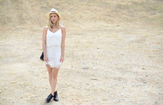 Goorin Bros. Hat,Dolce Vita Dress, Vintage Chanel Bag,H by Hudson Booties,Essie 'Madison Ave-hue' Nail Polish